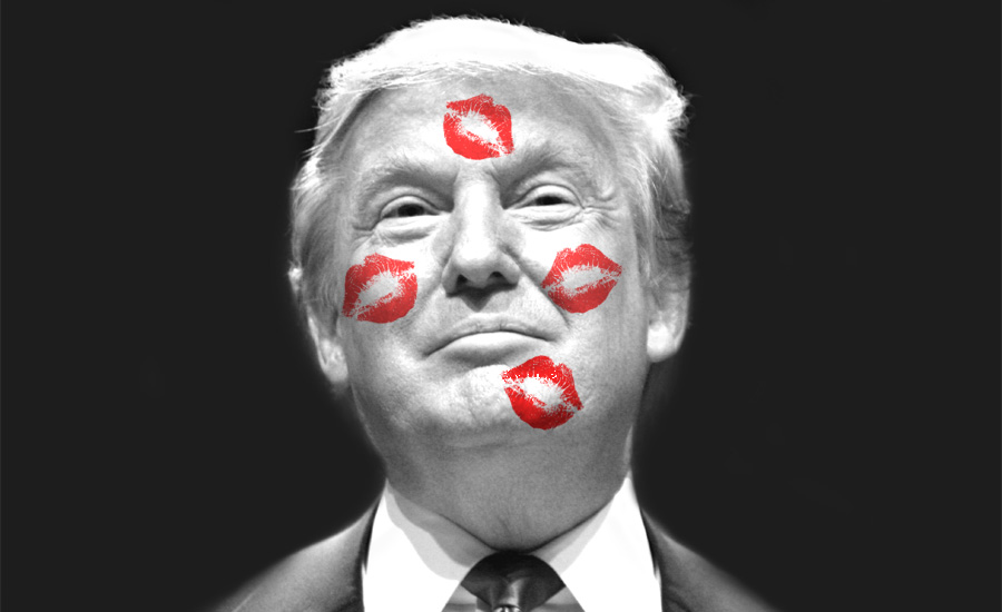 An image of Donald Trump with lipstick kisses on his face by What Went Wrong Or Right With...? for whatwentwrongwith.com