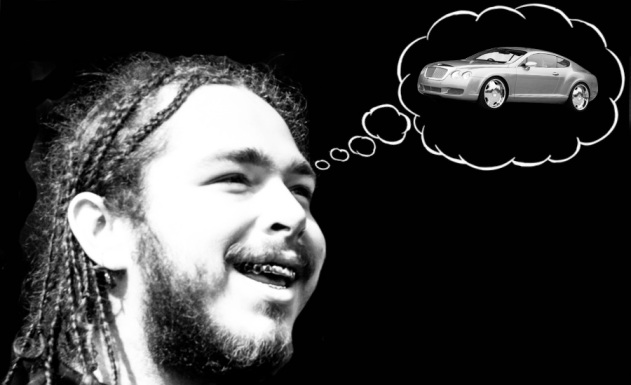 An image of Post Malone with a doltish expression thinking about a Bentley