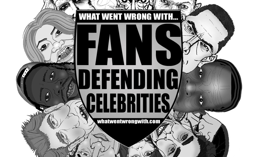 Caricatures of bigoted celebrities hiding behind a shield