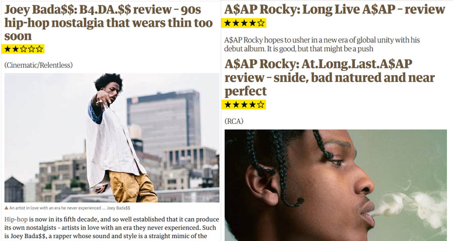 Album reviews from The Guardian showing that they have a bias for Southern or Mid Western style Trap over Eastt Coast Boom Bap
