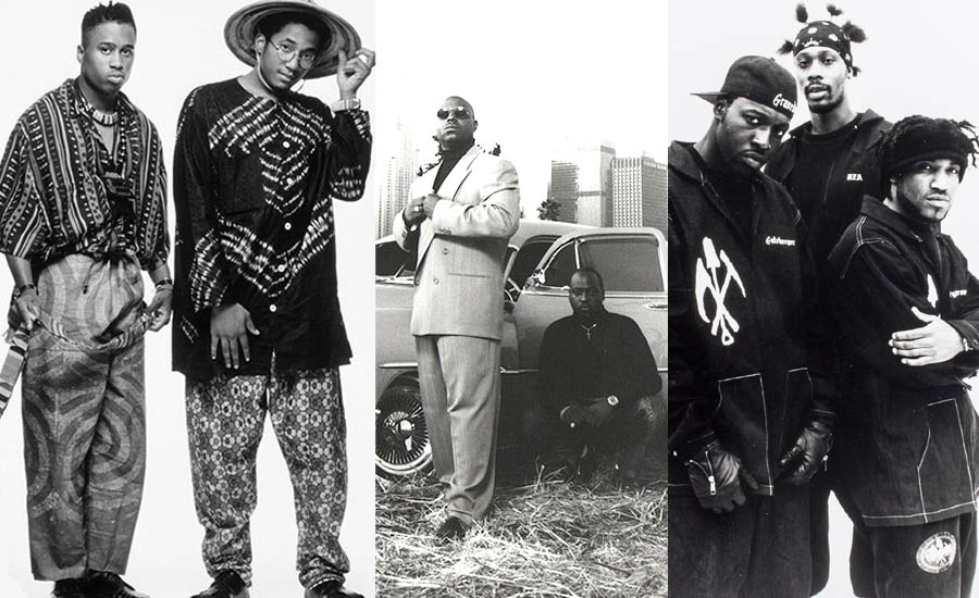 An image of 1990s Hip-Hop fashion showing the differing styles