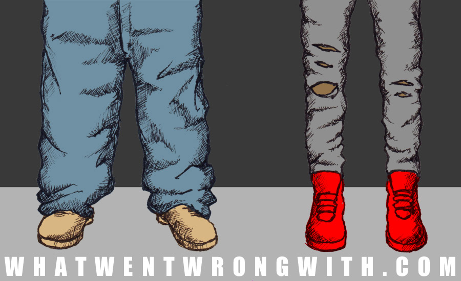 An image of baggy jeans and skinny jeans to illustrate the rift within contemporary Hip-Hop culture