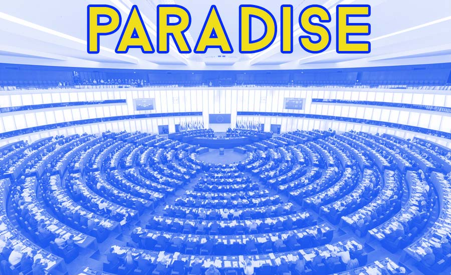 An image of the EU Hemicycle with the text Paradise above it
