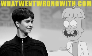 An image of Katherine Waterston alongside Doofus Rick both with bowl haircuts