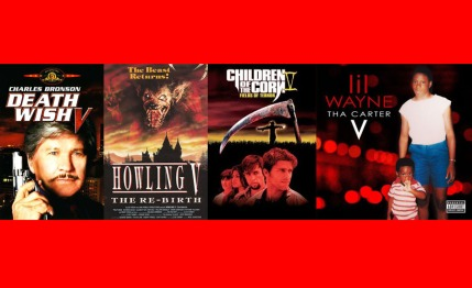 Posters and covers of Death Wish V, Howling V, Children Of The Corn V, and Lil Wayne's Tha Carter V