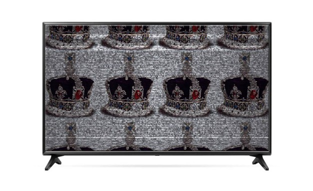 An image of a crown repeating on a TV screen to illustrate the amount of royalist films and television shows