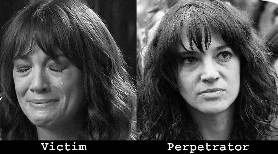 Asia Argento shown as both the alleged victim and the alleged perpetrator