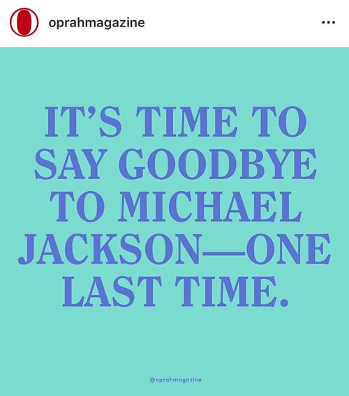 Oprah Winfrey Instagram post against Michael Jackson