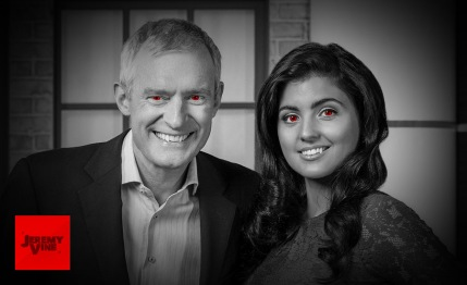 An image of Jeremy Vine and Storm Huntley as vampires
