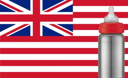 An image of a baby bottle in front of the anglo-american flag