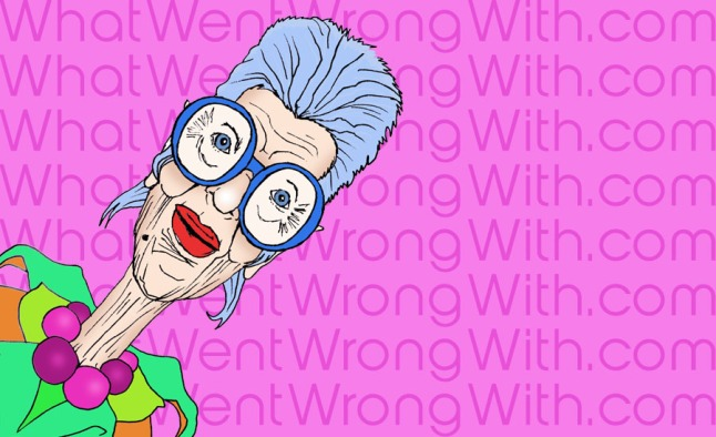 A caricature of Iris Apfel by What Went Wrong Or Right With...?