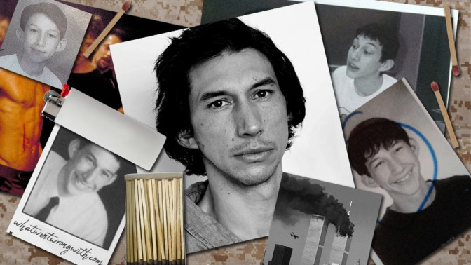Photographs of actor Adam Driver young and old