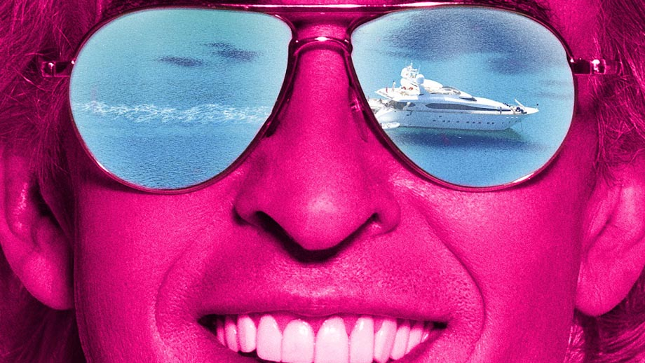 A fuchsia image of Steve Coogan in Michael Winterbottom's film Greed