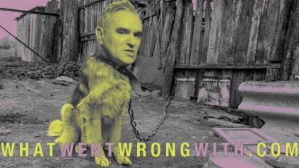 An image of Morrissey as a dog on a chain