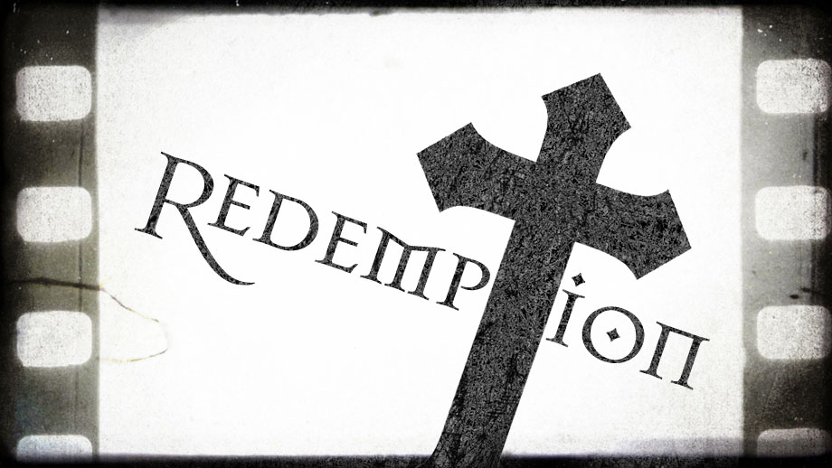 A film negative with a cross and the word redemption