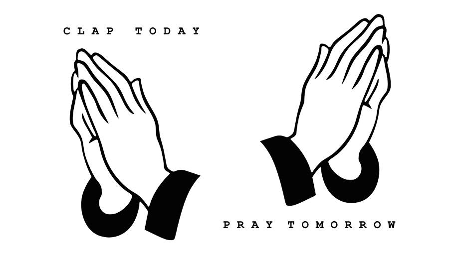 Clapping and praying hands for Coronavirus