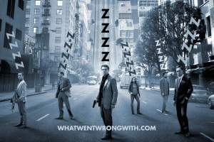 The cast of Inception sleeping with zzzz over their heads
