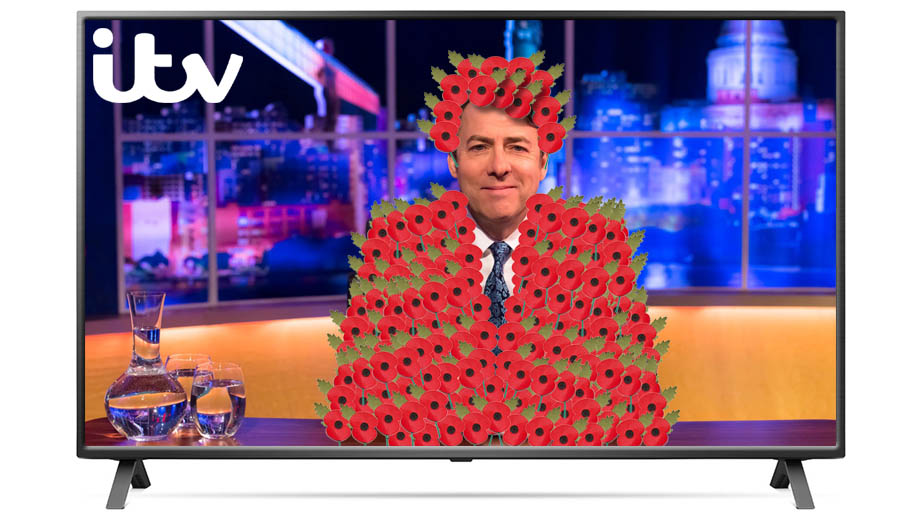 An image of Jonathan Ross wearing too many remembrance poppies on ITV