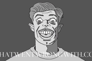 A caricature of Rob Beckett by What Went Wrong Or Right With...?