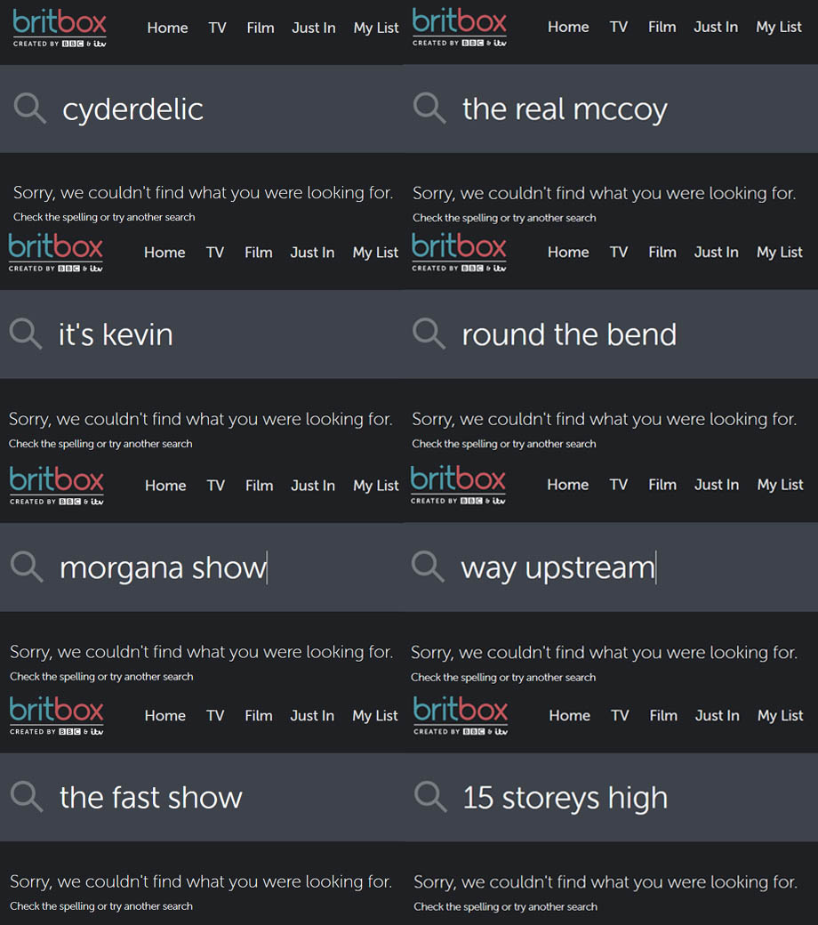 Screenshots of searches on BritBox showing all the missing content