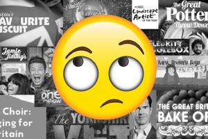 A roll eye emoji over all the crap television shows in the UK