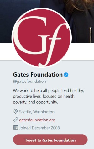 Gates Foundation Twitter bio from 2018