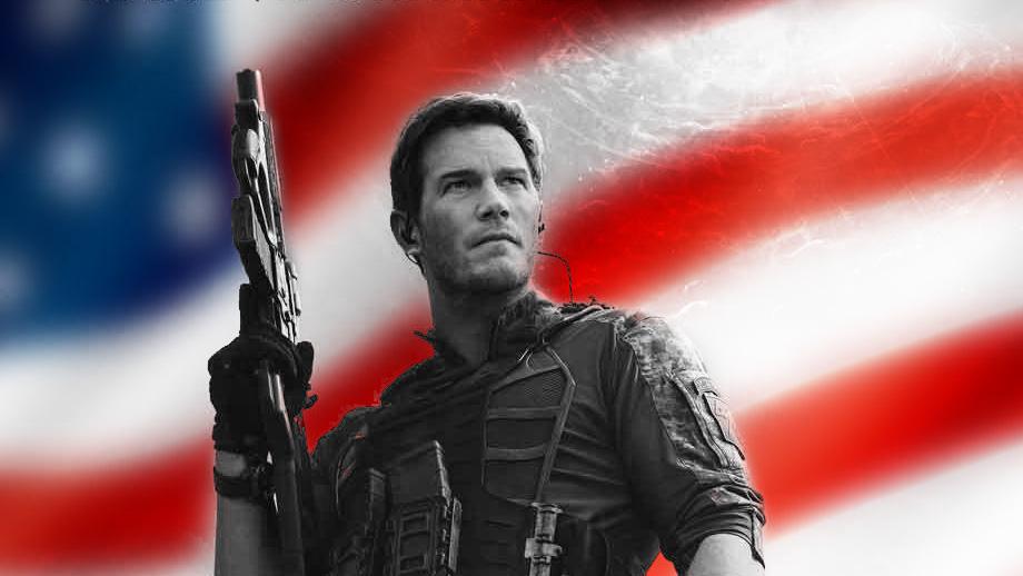 Chris Pratt as Dan Forester in front of the American flag
