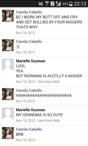 Screengrab of Camila Cabello using the N word in messages